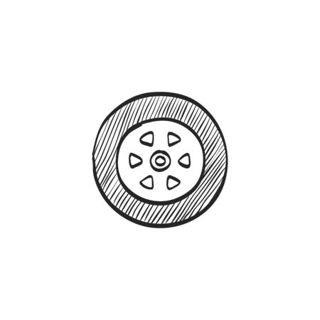 traction: Car tire icon in doodle sketch lines. Auto transportation wheel rubber Illustration