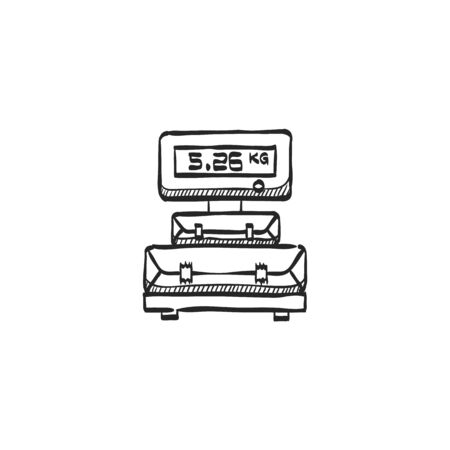 weighted: Logistic scale icon in doodle sketch lines. Package weight warehouse shipping delivery distribution
