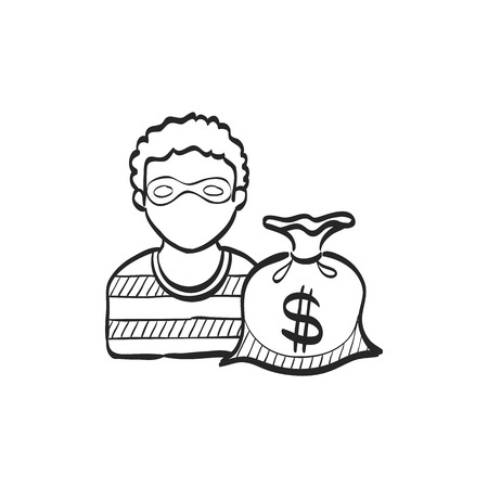 housebreaker: Burglar icon in doodle sketch lines. People person thief steal money sack dollar sign