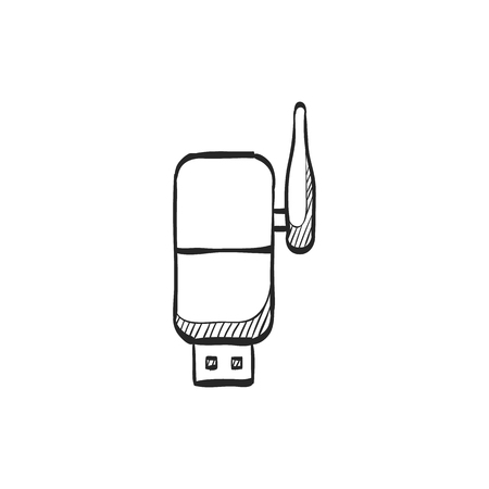 wireless icon: Wireless receiver icon in doodle sketch lines. Internet connection router signal Illustration
