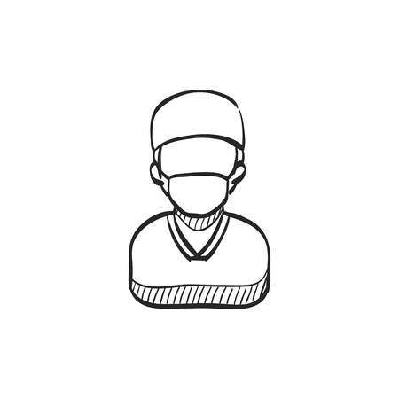 medical doctors: Surgeon icon in doodle sketch lines. Medical surgery doctor plastic operation