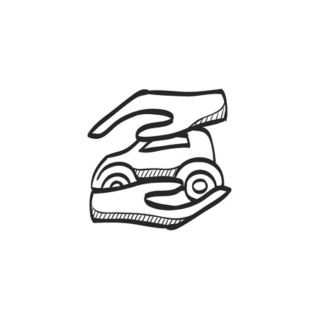 security: Hand holding car icon in doodle sketch lines. Business insurance protection care