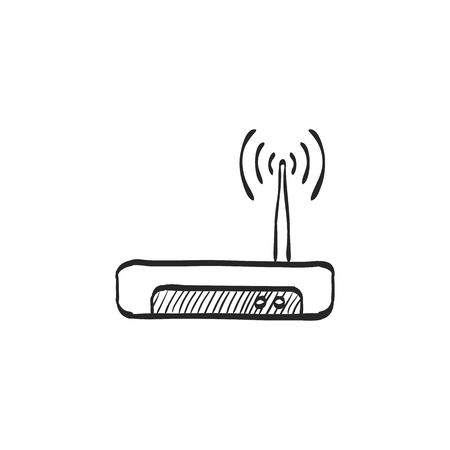 electronic: Internet router icon in doodle sketch lines. Connection data networking WiFi computer Illustration