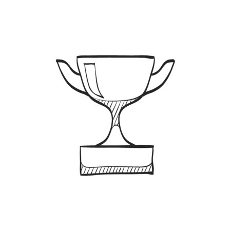 prize winner: Trophy icon in doodle sketch lines. Winner champion prize honor celebration cup gold bronze first place