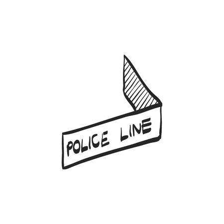Police line icon in doodle sketch lines. Crime scene protection barrier tape Illustration