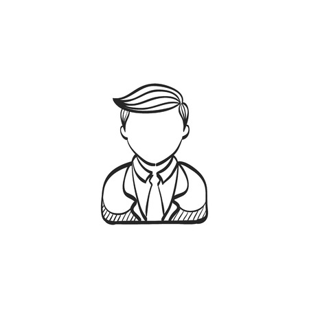 help: Doctor icon in doodle sketch lines. Medical practitioner healthcare Illustration