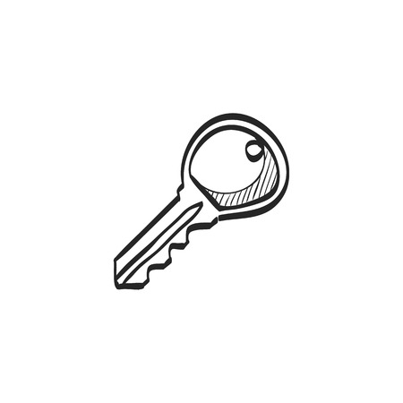 simple: Key icon in doodle sketch lines. Safety protection house home property