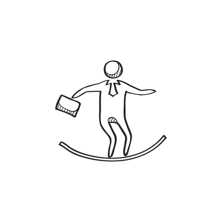 strong: Businessman challenge icon in doodle sketch lines. Extreme business  adrenaline Illustration