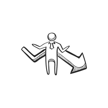 hand stand: Businessman chart icon in doodle sketch lines. Business finance growth success info graphic