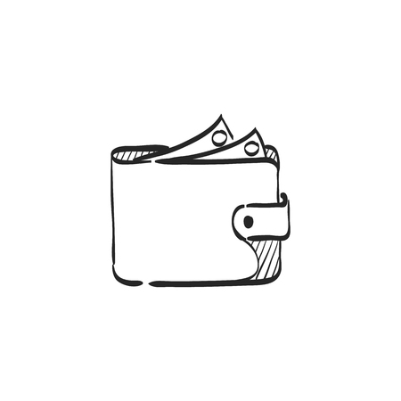case: Wallet icon in doodle sketch lines. Money case cash shopping finance banking