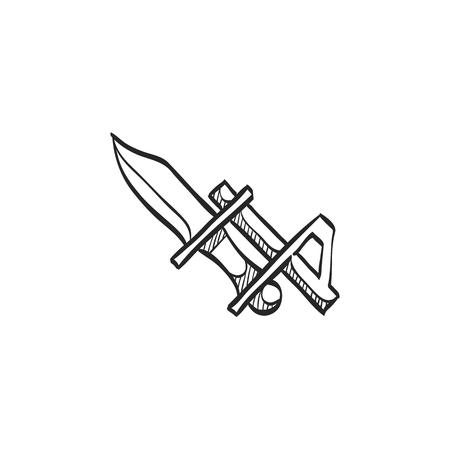 vintage riffle: Bayonet knife icon in doodle sketch lines. Weapon vintage riffle assault army war battle danger dagger
