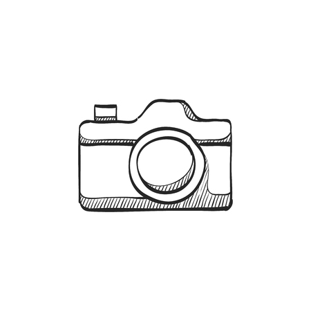 shutter: Camera repair icon in doodle sketch lines. Photography picture electronic imaging maintenance