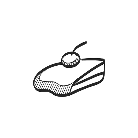 biscuits: Cake icon in doodle sketch lines. Food sweet delicious glazed chocolate dessert