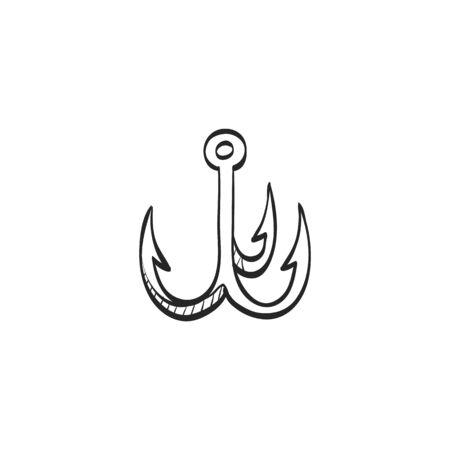 fishhook: Fishing hook icon in doodle sketch lines. Sport leisure water sea fisherman