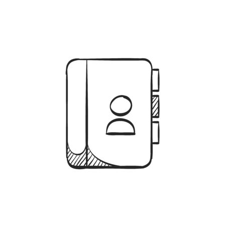 black family: Address book icon in doodle sketch lines. contact phone list customer friend family Illustration