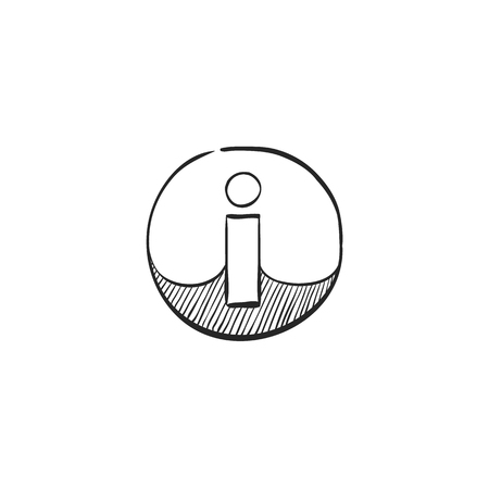 website: Info sign icon in doodle sketch lines. Website internet information help question Illustration