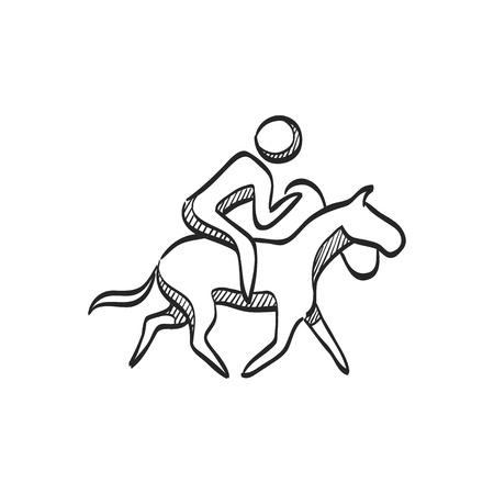 uomo a cavallo: Horse riding icon in doodle sketch lines. Sport championship race training leisure animal ride