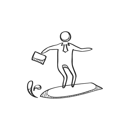 thrill: Businessman challenge icon in doodle sketch lines. Extreme business  adrenaline Illustration