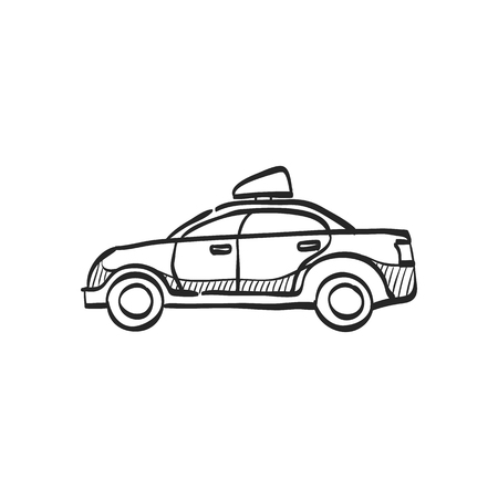 car: Safety car icon in doodle sketch lines. Race rally control competition siren