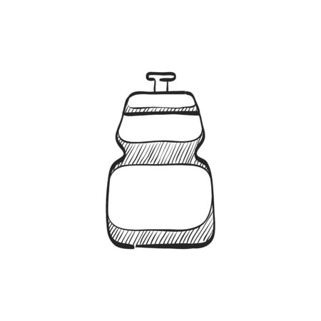 Cycling water bottle icon in doodle sketch lines. Sport ride bicycle race tour drink refresh hydrate Illustration