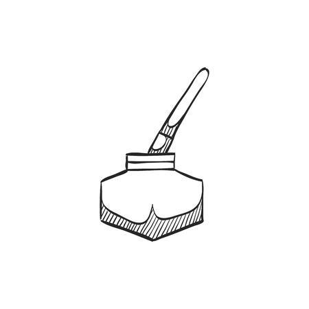 communication icons: Ink pot icon with brush in doodle sketch lines.
