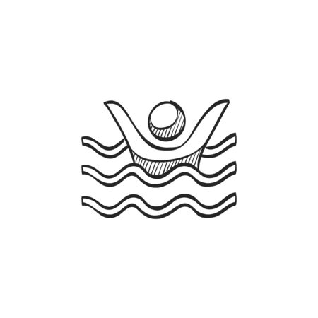 help: Drowned man icon in doodle sketch lines. People accident water sea beach lifeguard