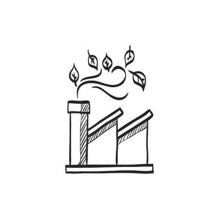 electricidad industrial: Green factory icon in doodle sketch lines. Industrial environment friendly renewable energy electricity