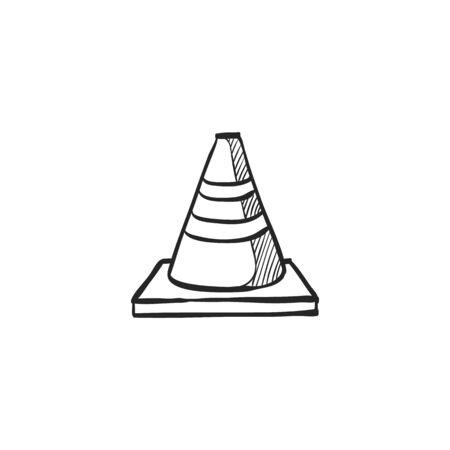 security: Road sign cone icon in doodle sketch lines. Danger forbidden plastic transportation Illustration
