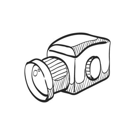 photo: Camera icon in doodle sketch lines. Vintage retro photography photo mechanical analog film shooting medium format Illustration