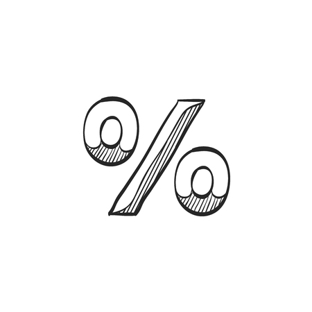 line drawings: Percent symbol icon in doodle sketch lines. Math mathematics number student money Illustration