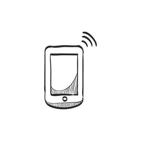 screen: Smartphone icon in doodle sketch lines. Communication device, touch screen Illustration