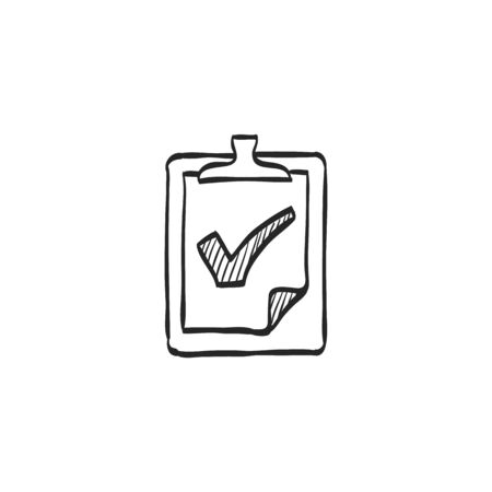 line drawings: Checklist icon in doodle sketch lines. Office report information Illustration