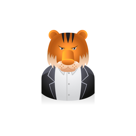 metaphor: Businessman with tiger head avatar icon in colors. Illustration