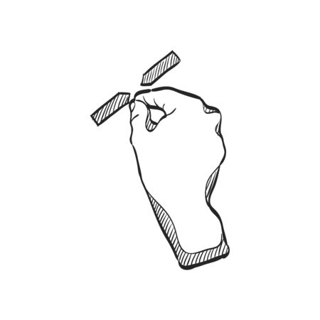 tablet pc in hand: Finger gesture icon in doodle sketch lines. Gadget touch pad display smartphone laptop computer Illustration
