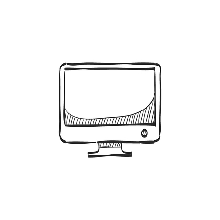 screen: Desktop computer icon in doodle sketch lines. Electronic office monitor Illustration
