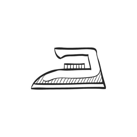 steam iron: Iron icon in doodle sketch lines. Laundry equipment electric appliance Illustration