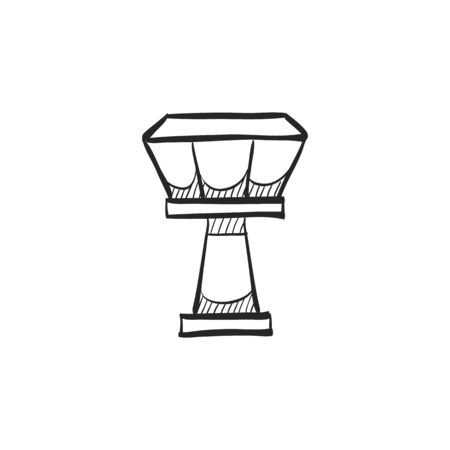 line drawings: Airport tower icon in doodle sketch lines. Traffic control airplane aviation