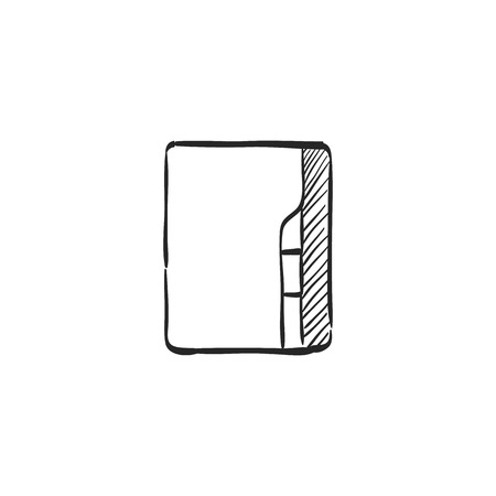 line drawings: Folder icon in doodle sketch lines. Computer office files binder add
