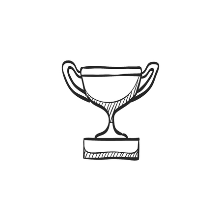 prize winner: Trophy icon in doodle sketch lines. Winner champion prize honor celebration cup gold bronze Illustration