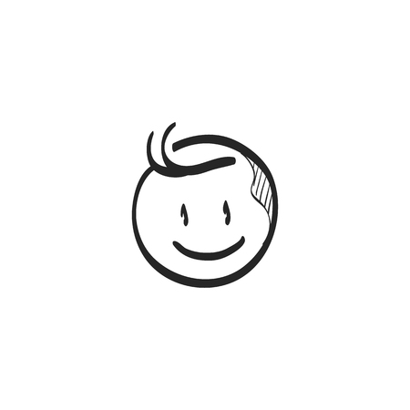 line drawings: Newborn baby icon in doodle sketch lines. Toddler smile happy adorable cute Illustration