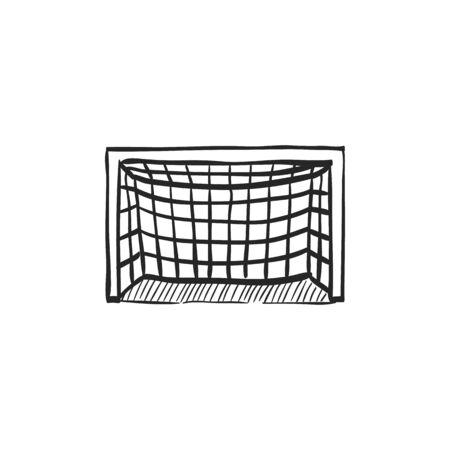 Piłka nożna bramka post ikona w doodle szkic linii. Piłka nożna piłka sportowa Ilustracje wektorowe