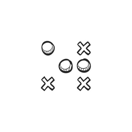 responsive: Strategy game icon in doodle sketch lines. Playing planning mental tactic steps Illustration