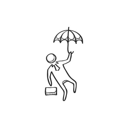 line drawings: Businessman umbrella icon in doodle sketch lines. Business people challenge office