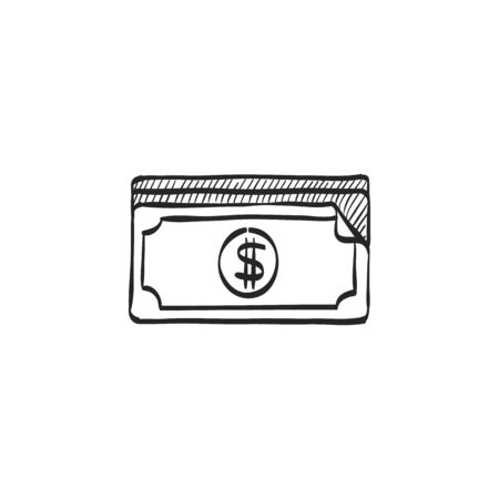 investment concept: Money icon in doodle sketch lines. Finance wealth banking Illustration