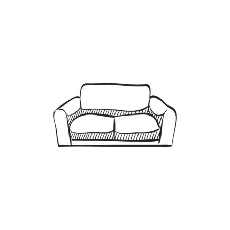 red sofa: Couch icon in doodle sketch lines. Interior chair cozy luxury living room family