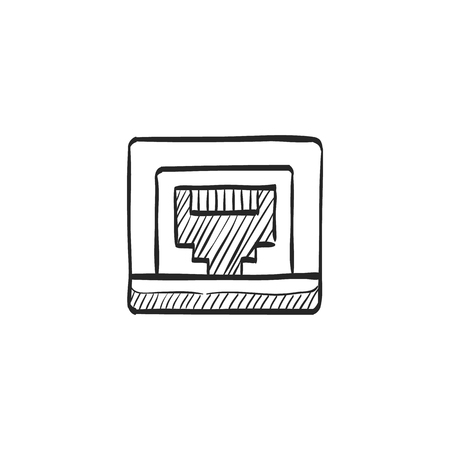 tcp: Local area connector icon in doodle sketch lines. Computer network internet connection broadband infrastructure Illustration