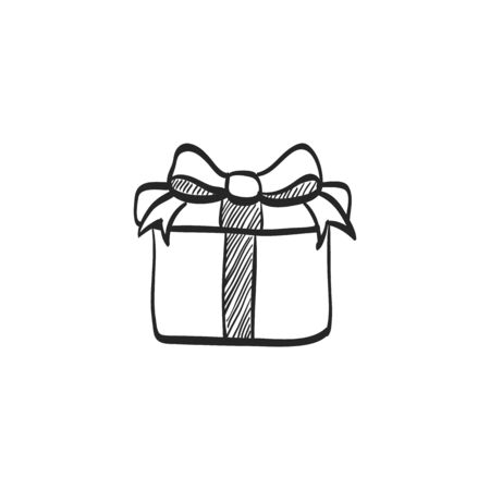 christmas celebration: Gift box icon in doodle sketch lines. Prize birthday Christmas holiday