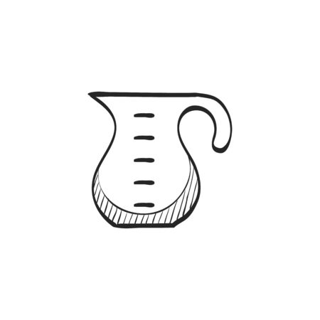 line drawings: Measure jug icon in doodle sketch lines. Cooking utensil glass liquid kitchen Illustration