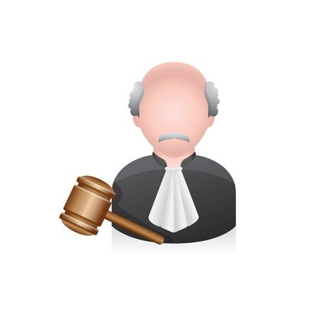Judge avatar icon in colors. Illustration