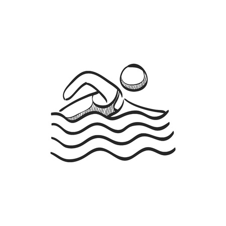 waves: Man swimming icon in doodle sketch lines. Athlete triathlon Olympics Olympian sport Illustration